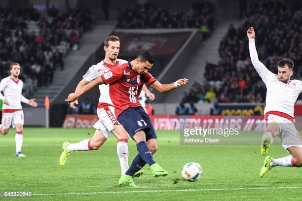Anwar El Ghazi of Lille missed his chance during the French Ligue 1 match between Lille and Bordeaux at Stade PierreMauroy on February 25 2017 in...