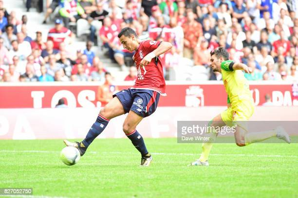 Anwar El Ghazi of Lille puts his side 30 ahead during the Ligue 1 match between Lille OSC and Nantes at Stade Pierre Mauroy on August 6 2017 in Lille