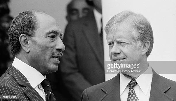 Anwar El Sadat and Jimmy Carter at White House to sign the 1979 Egypt–Israel Peace Treaty