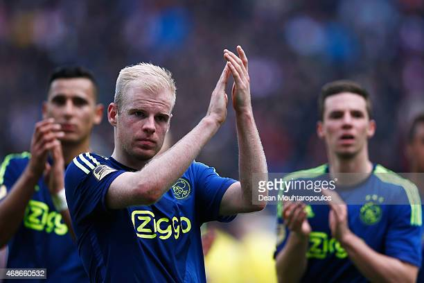 Anwar ElGhazi Davy Klaassen and Nick Viergever of Ajax applaude their fans after the Dutch Eredivisie match between FC Utrecht and Ajax Amsterdam...