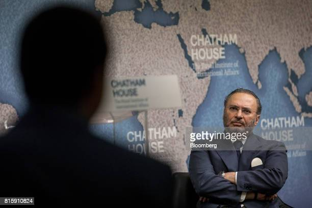 Anwar Gargash United Arab Emirates' foreign minister pauses at Chatham House in London UK on Monday July 17 2017 Gargash denied any UAE resposibily...