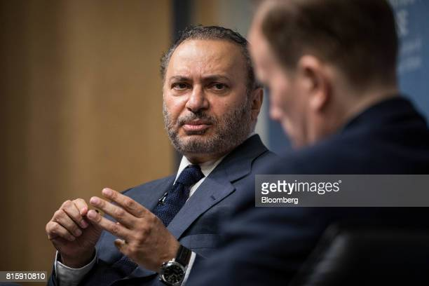 Anwar Gargash United Arab Emirates' foreign minister speaks at Chatham House in London UK on Monday July 17 2017 Gargash denied any UAE resposibily...