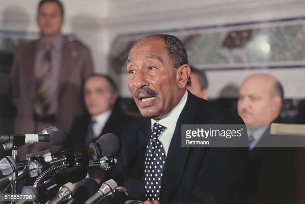 Anwar Sadat at News Conference