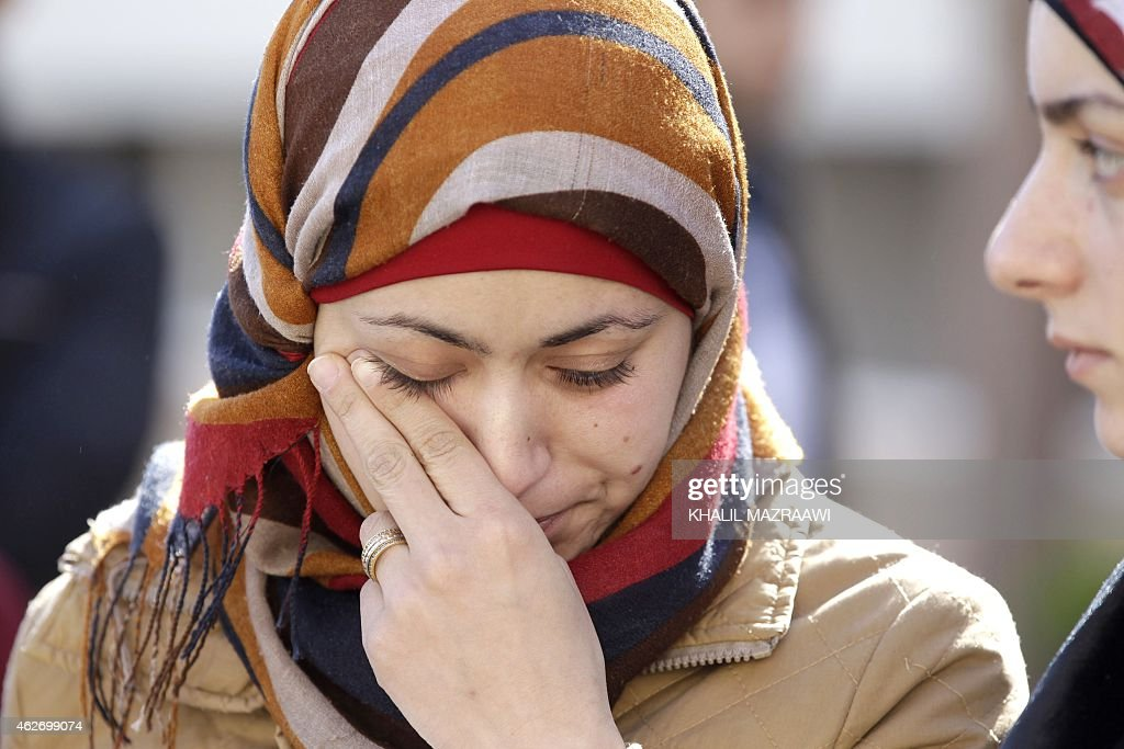 Anwar Tarawneh the wife of Jordanian pilot Maaz alKassasbeh who was captured by Islamic State group militants on December 24 after his F16 jet...