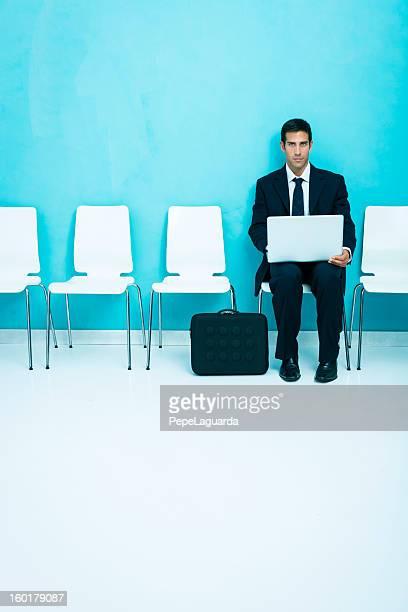 Anxious businessman in waiting room