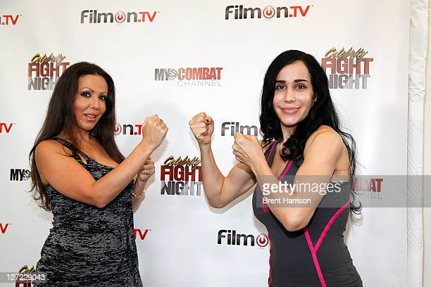 Any Fisher and Nadya 'Octomom' Suleman attend Celebrity Fight Night Official Press Conference at 9021GO Showroom on September 26 2011 in Beverly...