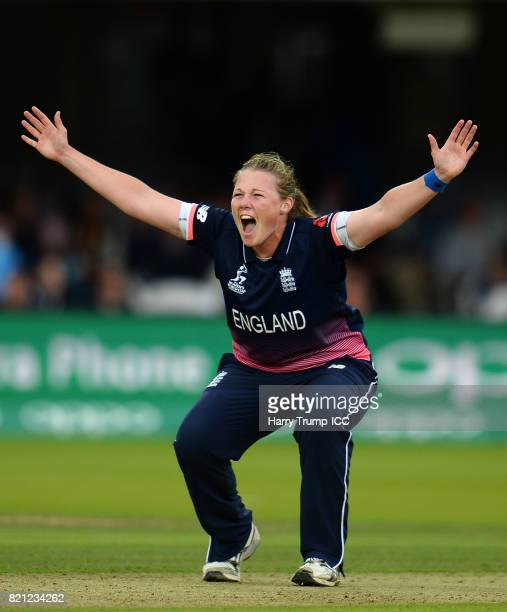 Any Shubsole of England appeals successfully for the wicket of Punam Raut of India during the ICC Women's World Cup 2017 Final between England and...