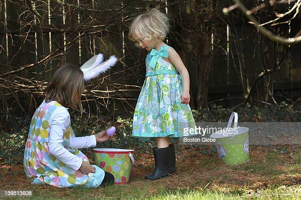 Anya Deutsch almost 3 right and her sister Elsa visited their grandparents house and had an Easter egg hunt They had to wear sturdy rubber rain boots...