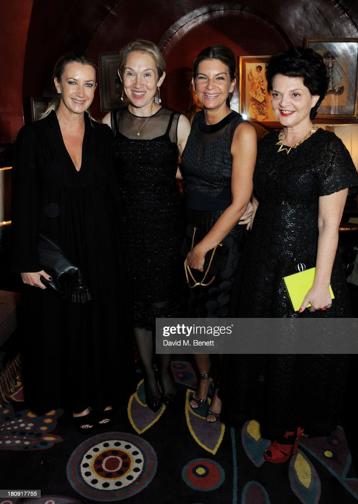 Anya Hindmarch, Justine Picardie, <a gi-track='captionPersonalityLinkClicked' href=/galleries/search?phrase=Natalie+Massenet&family=editorial&specificpeople=2118990 ng-click='$event.stopPropagation()'>Natalie Massenet</a> and Lulu Guinnes attend the Harper's Bazaar London Fashion Week SS14 closing party at Annabel's on September 17, 2013 in London, England.