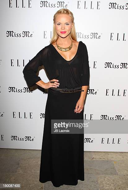 Anya Monzikova attends the Elle Magazine And Sarah Hyland Hosts Songbirds' 'Miss Me' Album Release Party at Sunset Marquis Hotel Villas on August 9...