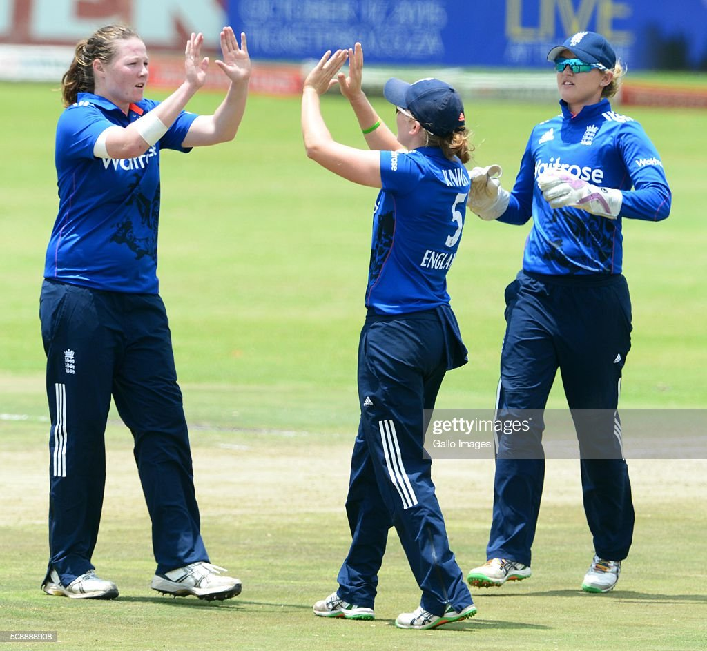 Anya Shrubsole and Heather Knight of England celebrate the wicket of Mignon du Preez of South Africa during the One Day International match between South African Women and England Women at Willowmoore Park on February 07, 2016 in Benoni, South Africa.