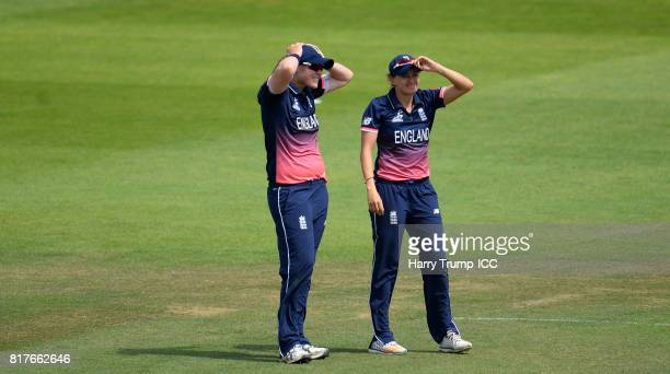 Anya Shrubsole and Laura Marsh of England react during the ICC Women's World Cup 2017 SemiFinal match between England and South Africa at The County...