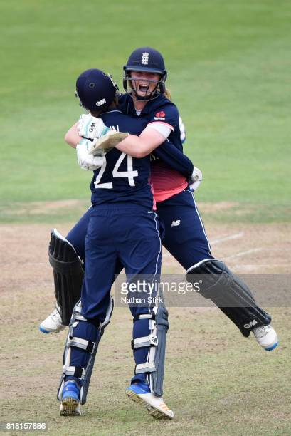 Anya Shrubsole andJ enny Gunnof England celebrates after they win the SemiFinal ICC Women's World Cup 2017 match between England and South Africa at...