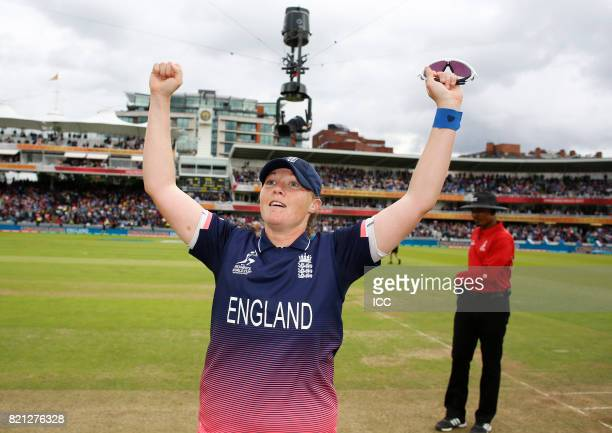 Anya Shrubsole of England after winning The ICC Women's World Cup 2017 Final between England and India at Lord's Cricket Ground on July 23 2017 in...