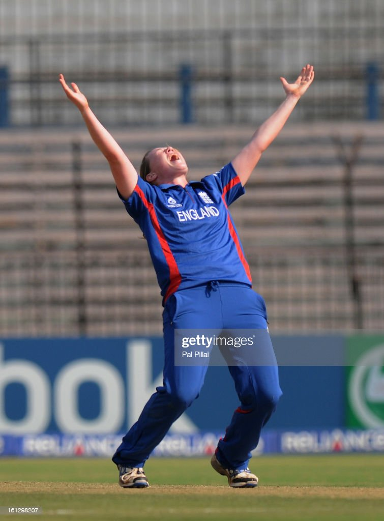 Anya Shrubsole of England appeals celebrates the wicket of Cri-Zelda Brits of South Africa during the Super Sixes match between England and South Africa held at the Barabati stadium on February 10, 2013 in Cuttack, India.