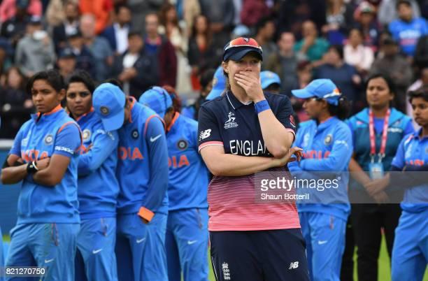 Anya Shrubsole of England at the end of the ICC Women's World Cup 2017 Final between England and India at Lord's Cricket Ground on July 23 2017 in...