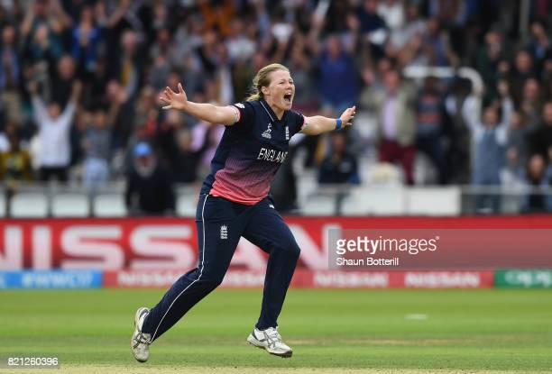 Anya Shrubsole of England celebrates after taking the final India wicket of Rajeshwari Gayakwad to win the ICC Women's World Cup 2017 Final between...