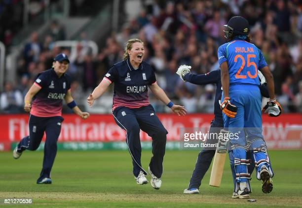 Anya Shrubsole of England celebrates after taking the wicket of Jhulan Goswami of India during the ICC Women's World Cup 2017 Final between England...
