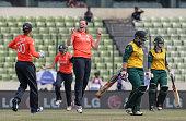 Anya Shrubsole of England celebrates bowling Lizelle Lee of South Africa during the England Women v South Africa Women at ShereBangla Mirpur Stadium...