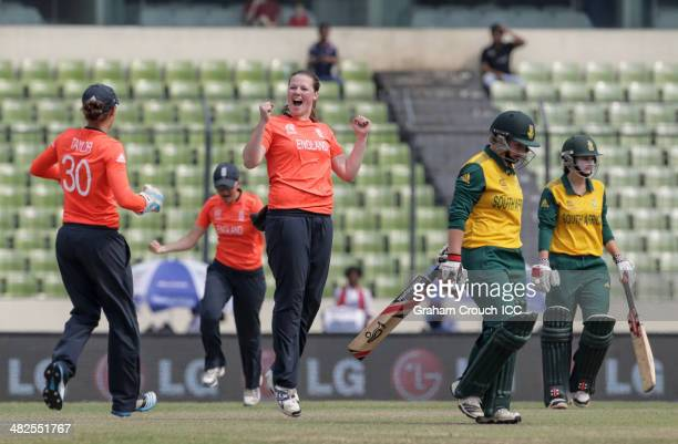 Anya Shrubsole of England celebrates bowling Lizelle Lee of South Africa during the England Women v South Africa Women at ShereBangla Mirpur Stadium...