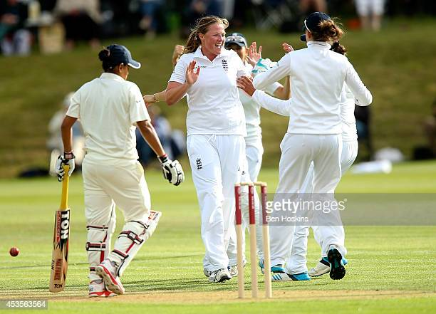 Anya Shrubsole of England celebrates dismissing Karu Jain of India during day one of Women's test match between England and India at Wormsley Cricket...