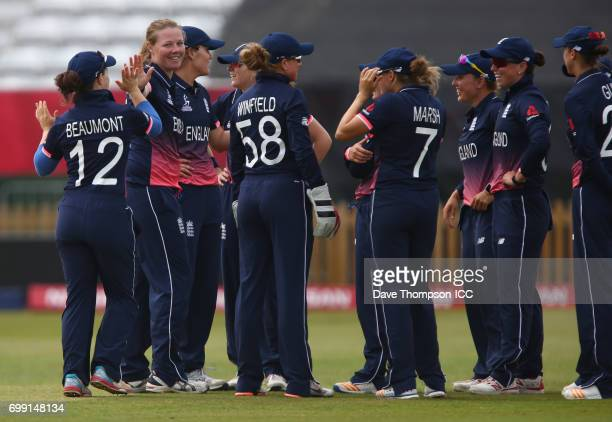Anya Shrubsole of England celebrates taking the wicket of Rachel Priest of New Zealand during the ICC Women's World Cup warm up match between England...