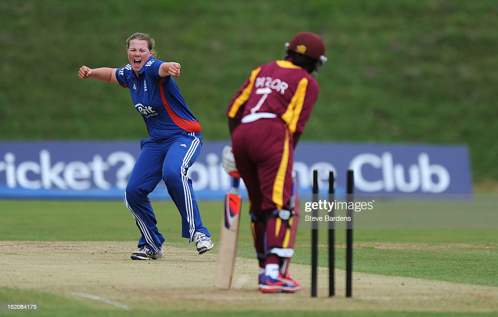 Anya Shrubsole of England celebrates taking the wicket of Stafanie Taylor of the West Indies during the NatWest Women's International T20 Series match between England Women and West Indies Women at Arundel on September 16, 2012 in London, England.
