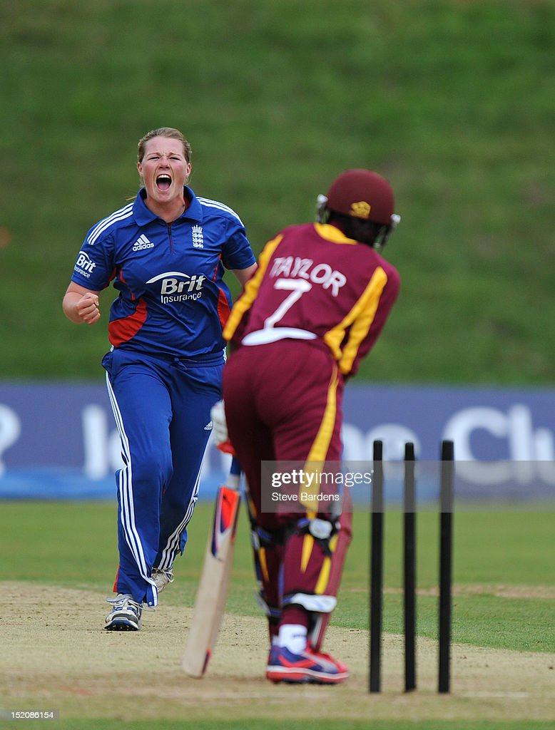 Anya Shrubsole (L) of England celebrates taking the wicket of Stafanie Taylor of the West Indies during the NatWest Women's International T20 Series match between England Women and West Indies Women at Arundel on September 16, 2012 in London, England.