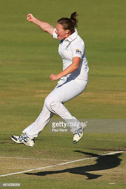 Anya Shrubsole of England celebrates the wicket of Elyse Villani of Australia during day one of the Women's Ashes Test match between Australia and...