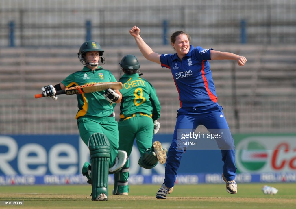 Anya Shrubsole of England celebrates the wicket of Yolandi Potgieter of South Africa during the Super Sixes match between England and South Africa held at the Barabati stadium on February 10, 2013 in Cuttack, India.