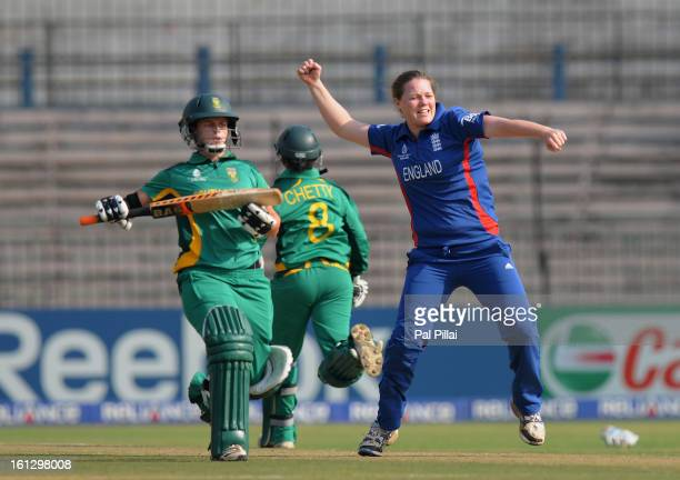 Anya Shrubsole of England celebrates the wicket of Yolandi Potgieter of South Africa during the Super Sixes match between England and South Africa...