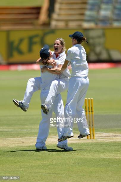 Anya Shrubsole of England celebrates with her team mates after England win the Ashes test against Australia on day four of the Women's Ashes Test...