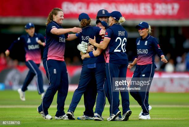 Anya Shrubsole of England celebrates with her teammates after dismissing Veda Krishnamurthy of India during the ICC Women's World Cup 2017 Final...