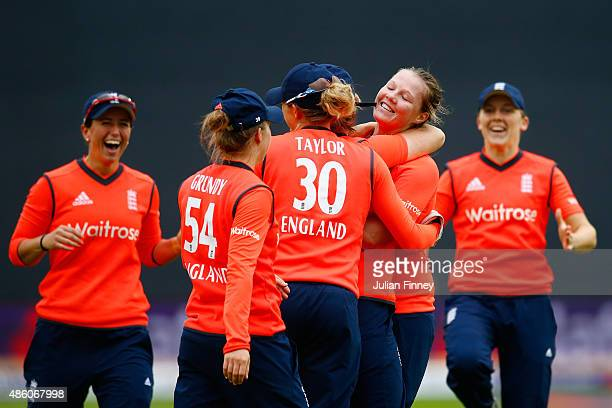 Anya Shrubsole of England celebrates with team mates after taking he wicket of Jess Jonassen of Australia during the 3rd NatWest T20 of the Women's...