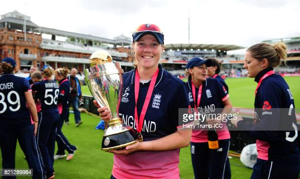 Anya Shrubsole of England poses with the trophy during the ICC Women's World Cup 2017 Final between England and India at Lord's Cricket Ground on...