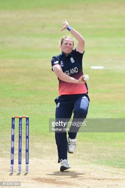 Anya Shrubsole of England runs into bowl during the ICC Women's World Cup 2017 between England and New Zealand at The 3aaa County Ground on July 12...