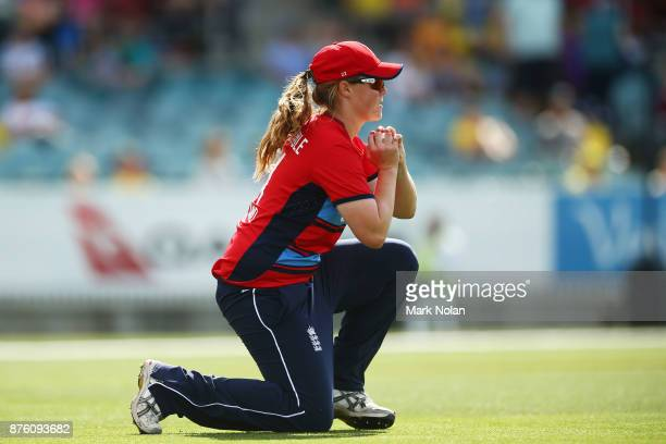Anya Shrubsole of England takes a catch during the second Women's Twenty20 match between Australia and England at Manuka Oval on November 19 2017 in...