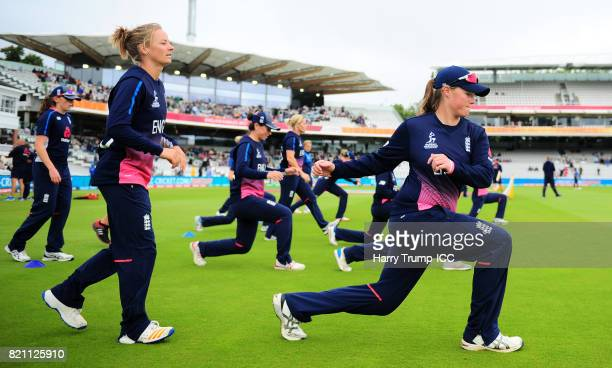 Anya Shrubsole of England warms up during the ICC Women's World Cup 2017 Final between England and India at Lord's Cricket Ground on July 23 2017 in...