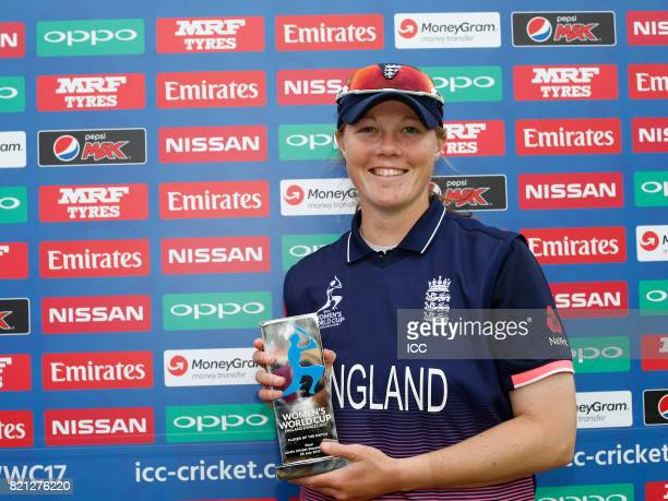 Anya Shrubsole of England with The Player of The Match award after The ICC Women's World Cup 2017 Final between England and India at Lord's Cricket...