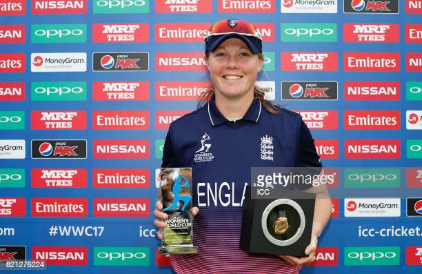 Anya Shrubsole of England with The Player of The Match awards after The ICC Women's World Cup 2017 Final between England and India at Lord's Cricket...