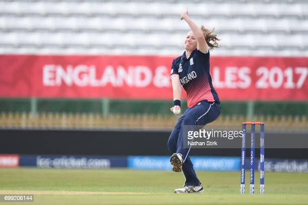 Anya Shrubsole of England Women's runs into bowl during the ICC women's world cup warm up match between England Women's and New Zealand on June 21...