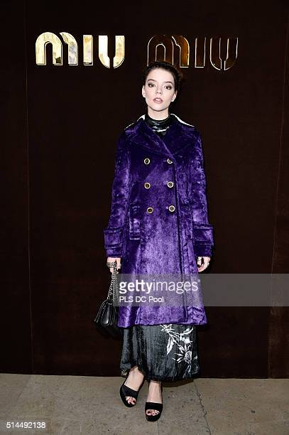 Anya Taylor Joy attends the Miu Miu show as part of the Paris Fashion Week Womenswear Fall / Winter 2016 on March 9 2016 in Paris France
