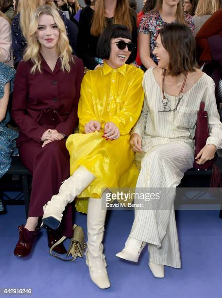 Anya Taylor Joy Noomi Rapace and Hikari Yokoyama attend the Mulberry Winter '17 LFW show at The Old Billingsgate on February 19 2017 in London England
