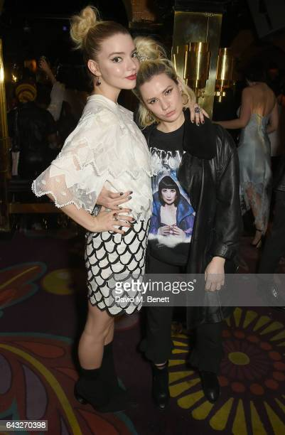 Anya TaylorJoy and guest at the LOVE and Burberry London Fashion Week Party at Annabel's celebrating Katie Grand and Kendall Jenner's #LOVEME17 on...