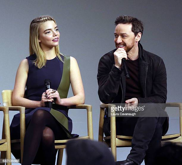 Anya TaylorJoy and James McAvoy attend Meet the Actor James McAvoy Anya TaylorJoy and Betty Buckley to discuss 'Split' at Apple Store Soho on January...