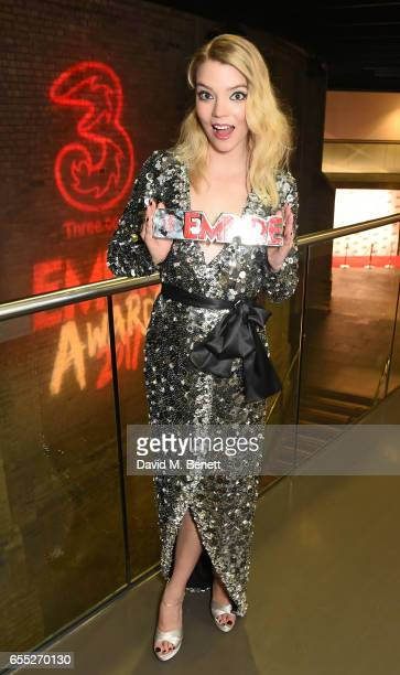 Anya TaylorJoy poses in the winners room at the THREE Empire awards at The Roundhouse on March 19 2017 in London England