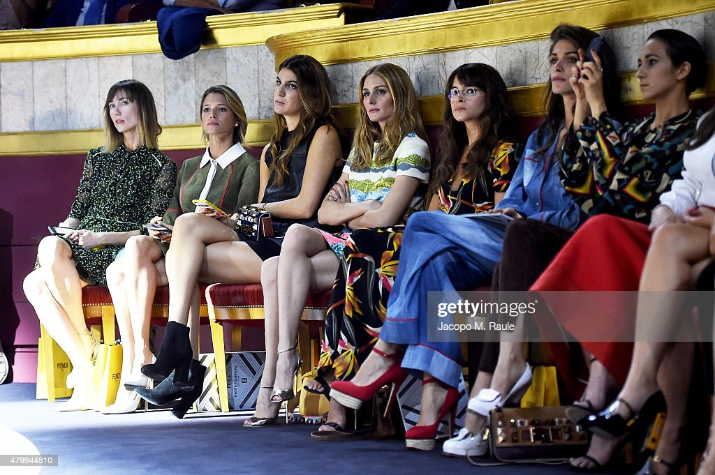 Anya Ziourova Helena Bordon Bianca Brandolini d'Adda Olivia Palermo Miroslava Duma Elisa Sednaoui and Delfina Delettrez Fendi attend the Fendi show...