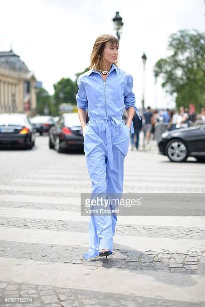 Anya Ziourova leaves the Chanel show at the Grand Palais wearing a Rosie Assoulin overall on July 7 2015 in Paris France