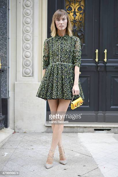 Anya Ziourova poses wearing Fendi before the Fendi show at the Theatre des Champs Elysees on July 8 2015 in Paris France