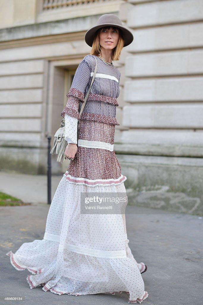 Anya Ziourova wears a Ferragamo dress on Day 6 of Paris Fashion Week Womenswear FW15 on March 8 2015 in Paris France